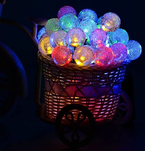 50 led solar powered globe string lights