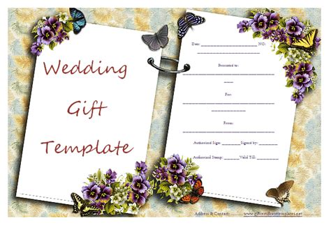 free wedding gift card template gift certificate templates