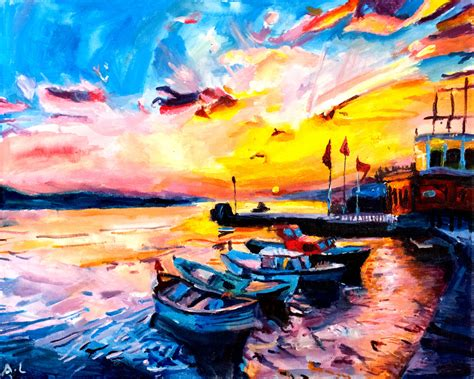 Housewarming Gifts India colourful sunset fine art print boat limited edition sunset