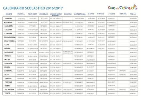 Calendario Scolastico 2016 Calendario Scolastico 2016 2017 Cose Per Crescere