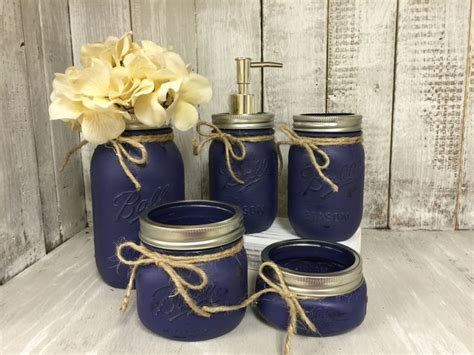 navy bathroom accessories mason jar bath set navy rustic distressed farmhouse