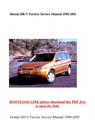 honda factory service repair manuals honda hr v factory service manual 1999 2001 by dniel toen issuu