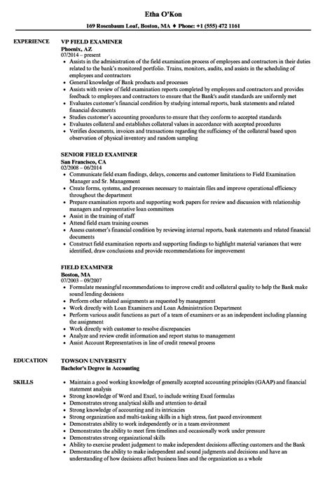 Field Examiner Sle Resume by Field Examiner Resume Sles Velvet