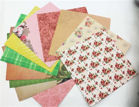 6inch Scrapbook Paper 02a 1 sweet delicate 6inch scrapbooking paper pack of 24sheets