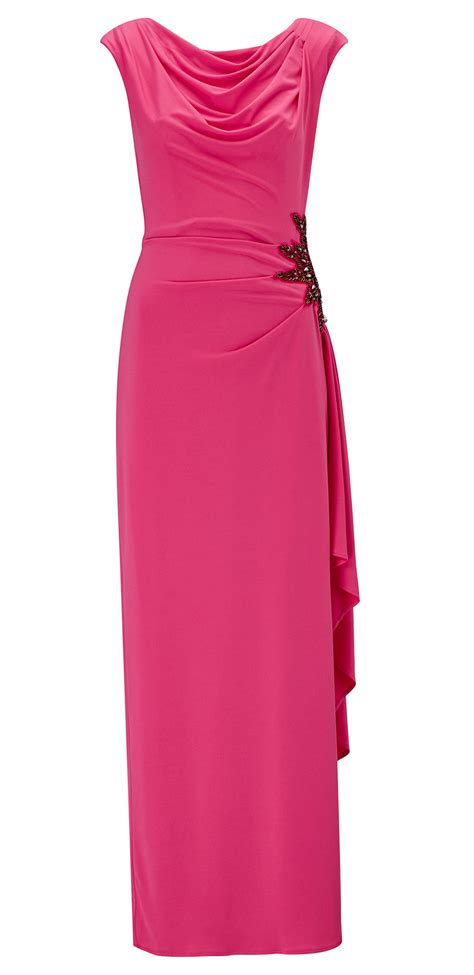 elia cerise pink jersey embellished trim maxi dress ariella