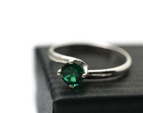 emerald ring simple engagement ring sterling silver