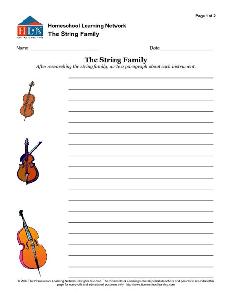 String Worksheets - string family worksheet calleveryonedaveday