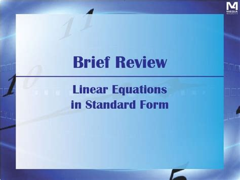 brief review linear equations in standard form by