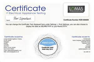 portable appliance testing certificate template original free certificate of