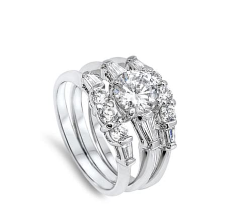white cz wholesale wedding set ring   sterling