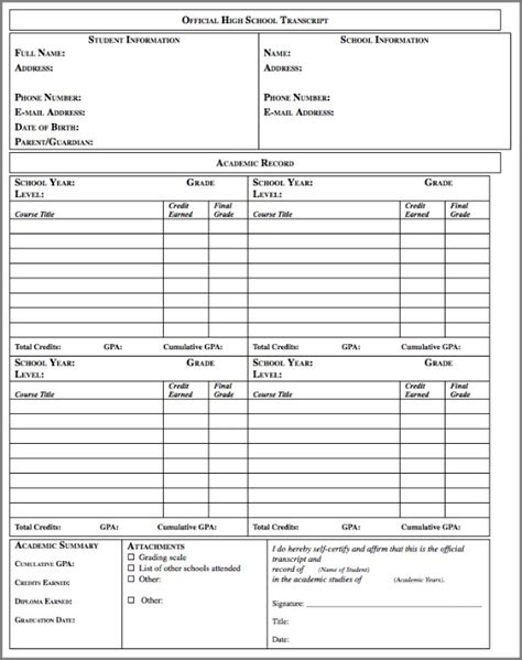 transcript template pin blank transcripts forms on