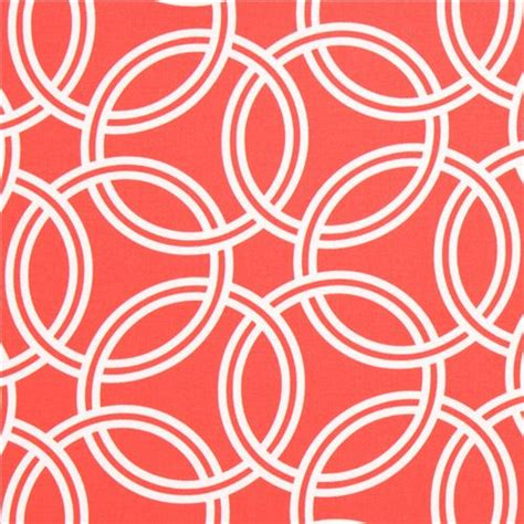 Gorden Ring Motif Ranium White coral ring pattern cotton sateen fabric michael miller dots stripes checker fabric