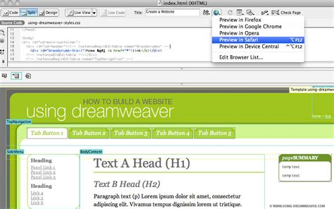 Create A Web Page From A Dreamweaver Template Using Dreamweaver Create A Page Template