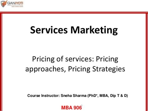 Service Marketing Ppt For Mba by Pricing Of Services