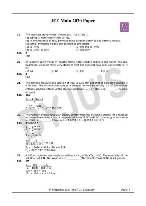 Solved JEE Main 2020 Chemistry Paper Shift 2 (Sept 4