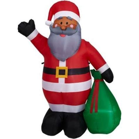 6 5 ft christmas african american santa claus inflatable