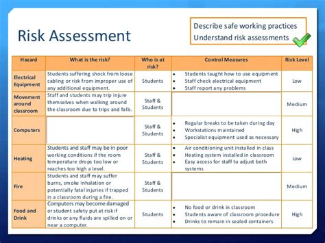 student risk assessment template lo2 lesson 10 health safety