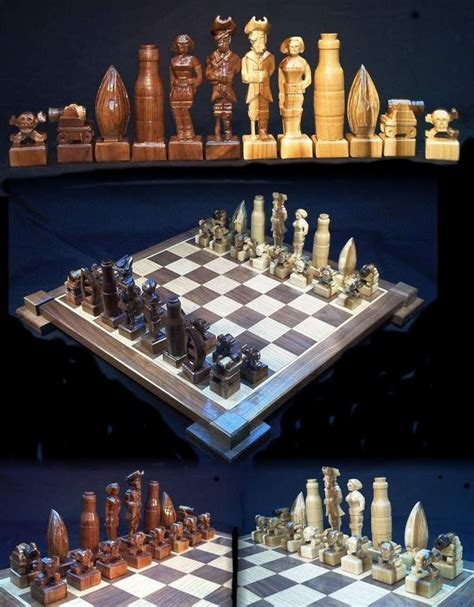 Handmade Chess - chess set pirate chess set handmade on etsy carved