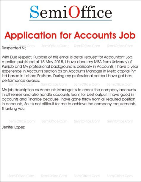 application letter accountant post accountant archives semioffice
