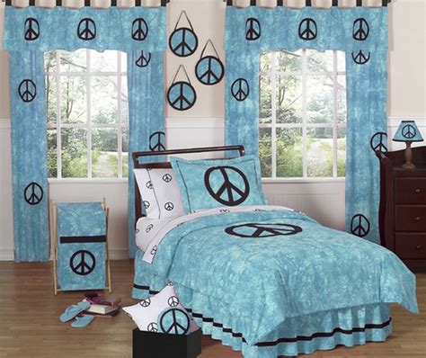 peace sign bedroom turquoise groovy peace sign tie dye children s bedding 3