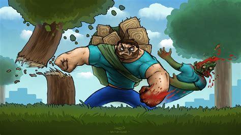 minecraft steve video games zombies fan art blood