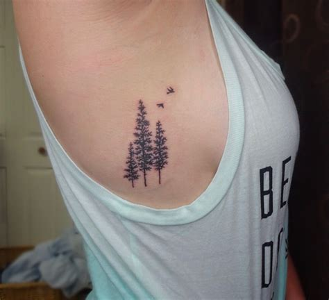 tree side tattoo pine tree side rib tattoos side