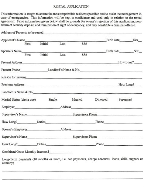 rental application template real estate forms