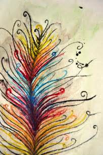 colorful feather colorful feather watercolor drawing painting by caseycreative