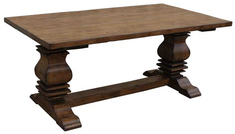 rustic distressed trestle pedestal dining table for