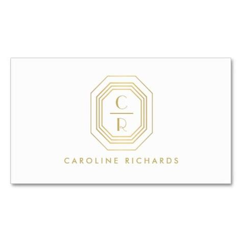 Monogram Business Card Template by Gold Deco Monogram Initials Business Card Template