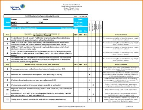 manufacturing process template professional audit form report template sle for