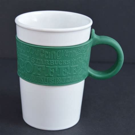 Handle Green Coffee starbucks green rubber sleeve handle white 12 oz coffee