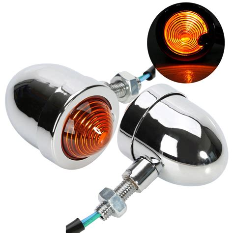 Blinker L by 2x Chrome Bullet Motorcycle Turn Signal Indicator