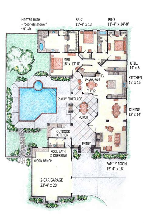 floor plans with pool contemporary home mansion house plans indoor pool home