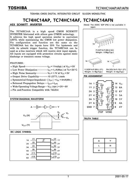 datasheet catalog integrated circuits tc74hc14 datasheet tc74hc14 pdf cmos digital integrated circuit silicon monolithic