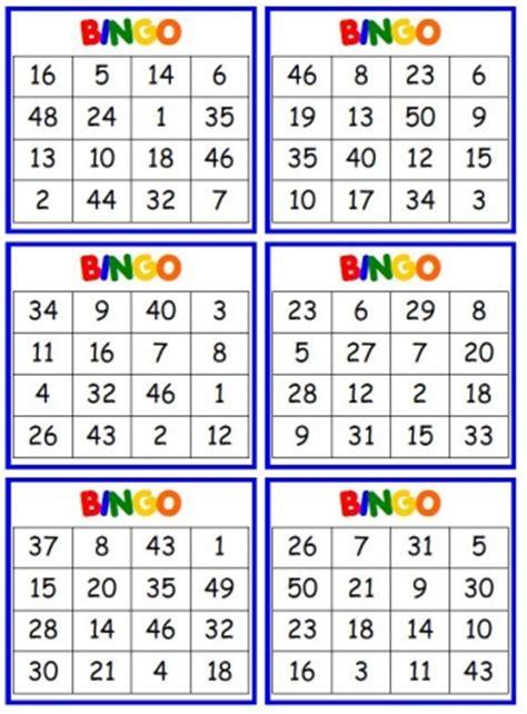 Printable Number Bingo Cards 1 50 | free worksheets 187 printable numbers 1 50 free math