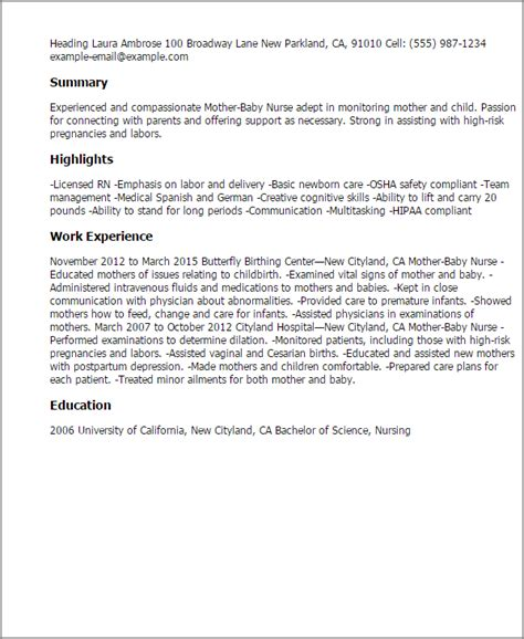 Exle Resume For Infant Professional Baby Templates To Showcase Your Talent Myperfectresume