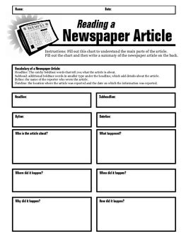 newspaper article summary form by jewels | teachers pay