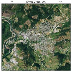 aerial photography map of myrtle creek or oregon