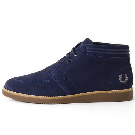 fred perry southall mens chukka boots in carbon blue