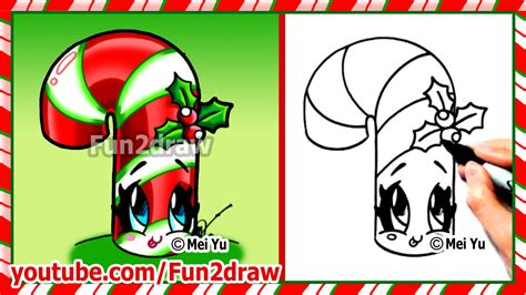 how to draw christmas stuff things cute candy cane