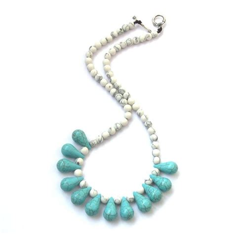 blue white howlite turquoise necklace jewelry ebay