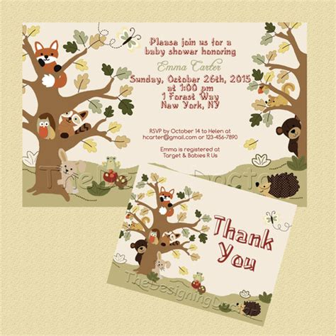 Woodland Animal Echo Forest Friends Theme Baby Shower Invitation And Thank You Card Printable Friends Themed Invitation Template