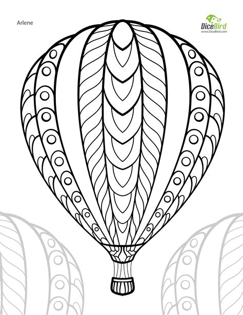 printable coloring pages air balloons air balloon free printable colouring page
