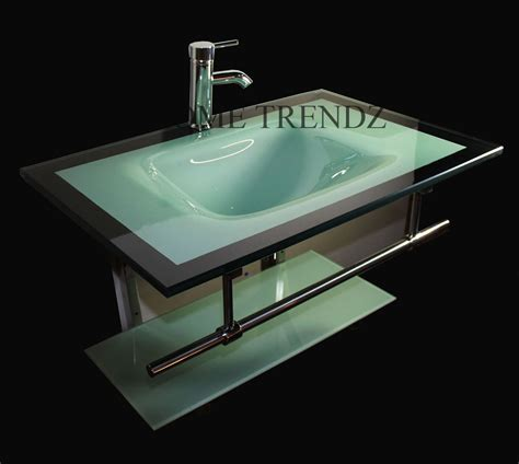 Glass Vanities And Sinks by Bathroom Vanity Furniture Aqua Green Tempered Glass Bowl