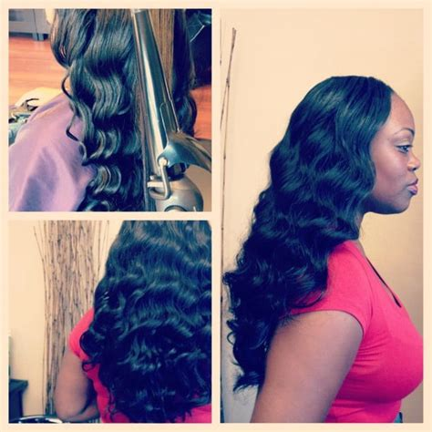 sewing a part in tracks in hair full sew in weave with wand curls minimal hair was left