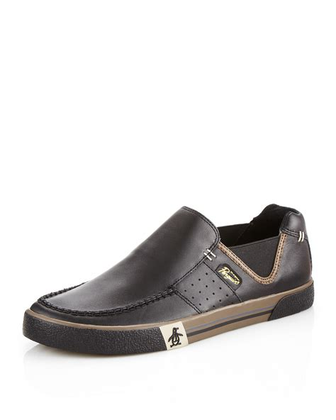 original loafer original penguin ernie leather loafer in black for lyst
