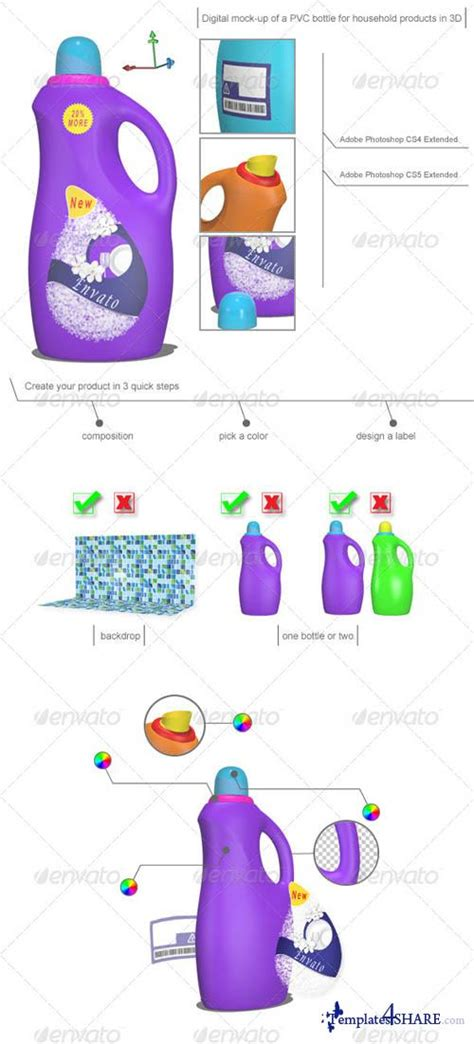 Graphicriver Mock Up Of A 3d Cleaning Bottle For Household Prod 187 Templates4share Com Free Web Digital Mock Up Templates