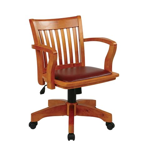 wooden desk chair without deluxe wood banker s chair