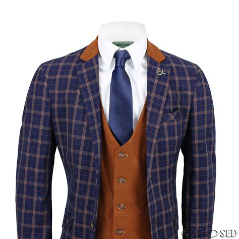 Set Check Blazer Vest Check mens 3 suit retro orange check on navy blue contrast